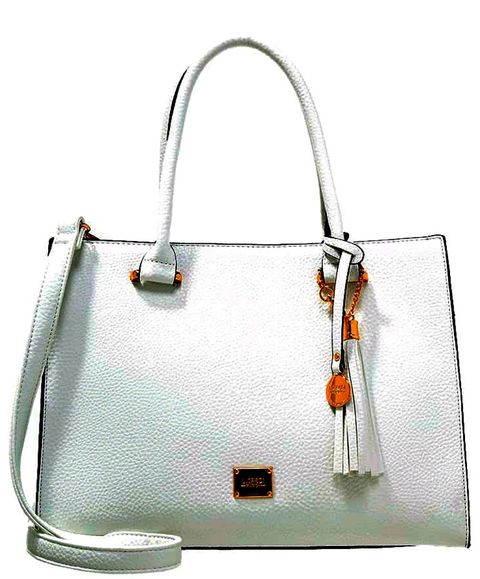 Handbag, Bag, Shoulder bag, White, Fashion accessory, Material property, Leather, Luggage and bags, Tote bag, Still life,