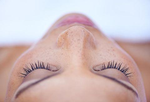 Eyelash, Eyebrow, Face, Skin, Eye, Nose, Close-up, Eyelash extensions, Beauty, Forehead,