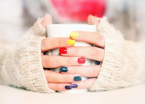 Nail, Nail polish, Finger, Manicure, Nail care, Hand, Cosmetics, Yellow, Pink, Material property,