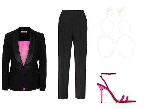 Clothing, Suit, Pink, Formal wear, Trousers, Outerwear, Blazer, Footwear, Tuxedo, Magenta,