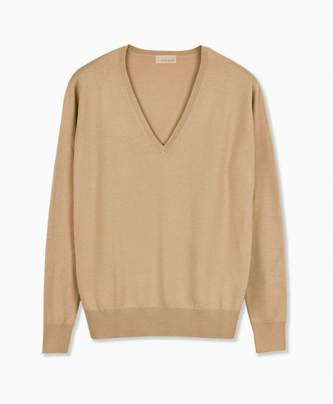 Product, Brown, Sleeve, Sweater, Textile, Outerwear, White, Khaki, Collar, Tan,