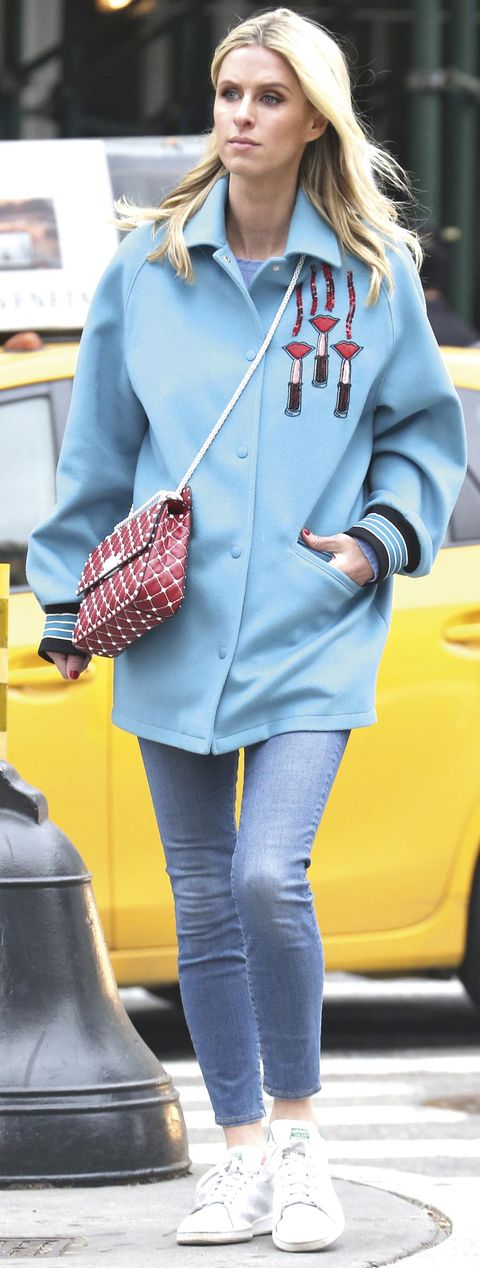 Clothing, Blue, Sleeve, Collar, Trousers, Textile, Outerwear, Coat, Bag, Style,