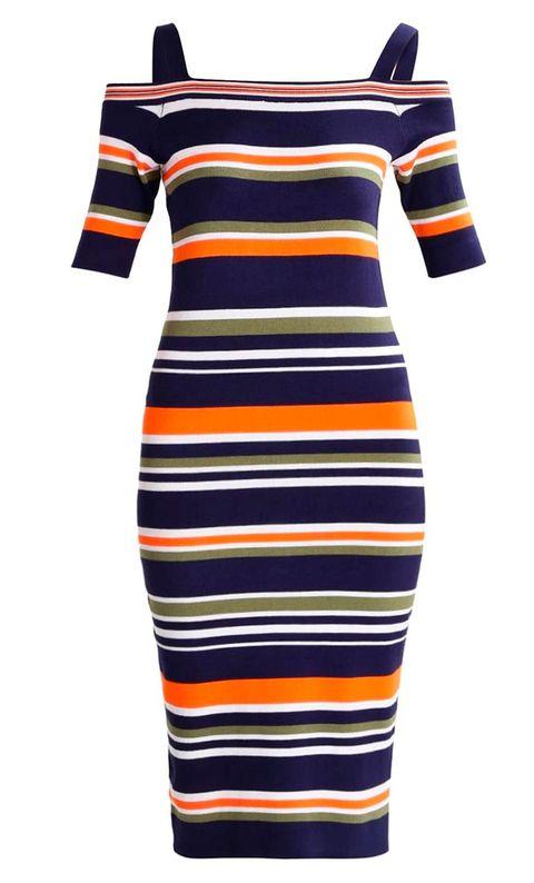 Clothing, Day dress, Dress, Black, Sleeve, Yellow, Product, Orange, Shoulder, Neck,