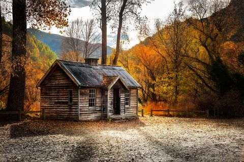 Natural landscape, Nature, Sky, Tree, House, Leaf, Log cabin, Home, Atmospheric phenomenon, Autumn,