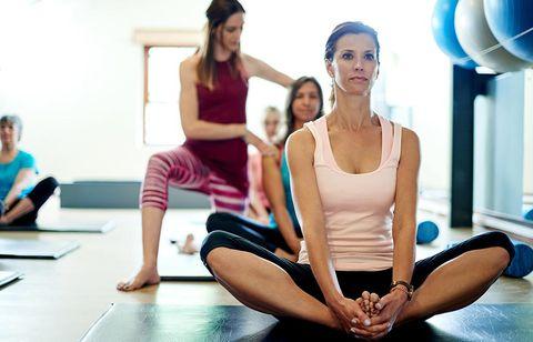 Physical fitness, Pilates, Yoga, Yoga mat, Sitting, Shoulder, Leg, Exercise, Arm, Leisure,