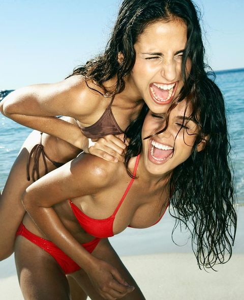 Hair, Mouth, Smile, Fun, Hairstyle, Skin, Brassiere, Happy, Summer, Facial expression,