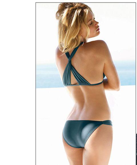 Clothing, Bikini, Undergarment, Lingerie, Brassiere, Swimwear, Swimsuit bottom, Briefs, Shoulder, Turquoise,
