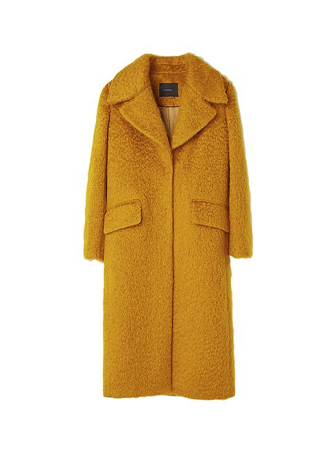 Clothing, Coat, Outerwear, Yellow, Overcoat, Trench coat, Orange, Sleeve, Jacket, Collar,