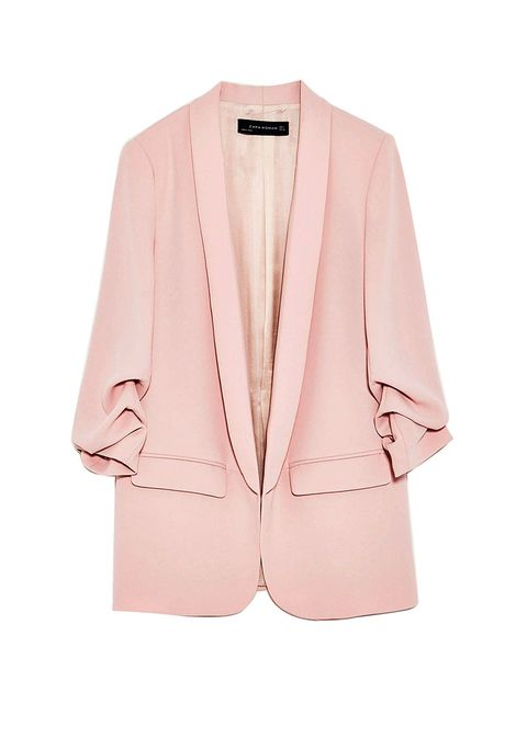 Clothing, Outerwear, Blazer, Jacket, Pink, Sleeve, Top, Formal wear, Button, Peach,