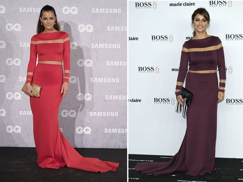 Clothing, Human, Shoulder, Dress, Red, Formal wear, Flooring, Style, Waist, Fashion,