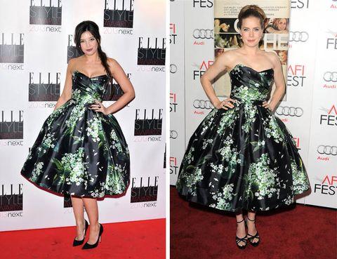 Clothing, Dress, Green, Shoulder, Red, Pattern, Flooring, Formal wear, One-piece garment, Style,