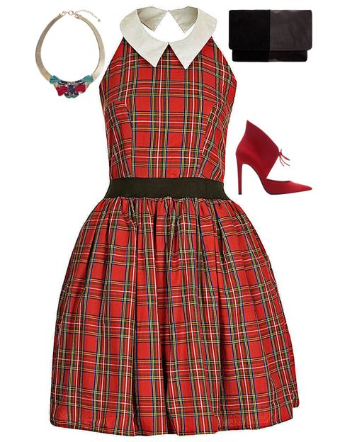 Clothing, Product, Collar, Sleeve, Pattern, Red, Textile, White, Style, Dress,