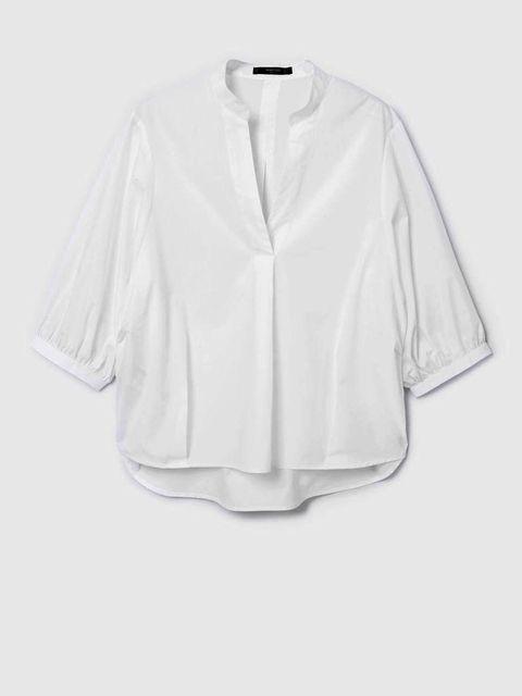 Clothing, White, Sleeve, Outerwear, Collar, Blouse, Top, Shirt, Button, Neck,