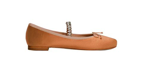 Footwear, Shoe, Tan, Beige, Brown, Mary jane, Ballet flat, Leather,