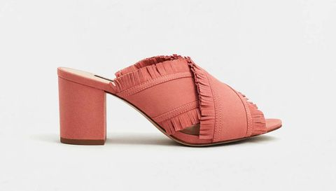 Footwear, Pink, Shoe, Sandal, Beige, Slingback, Magenta, High heels, Leather,