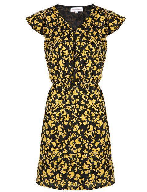 Yellow, Dress, Sleeve, Textile, Pattern, One-piece garment, Formal wear, Style, Line, Collar,
