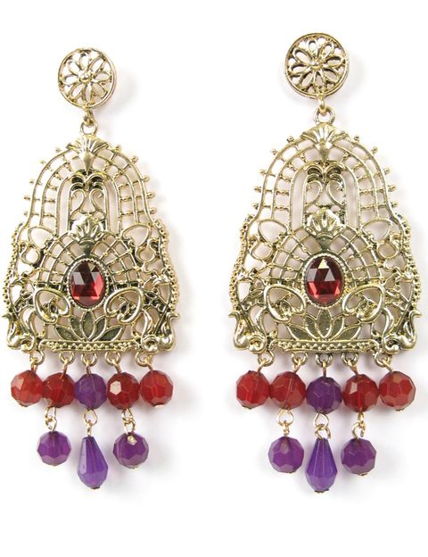 Red, Fashion accessory, Earrings, Jewellery, Natural material, Purple, Magenta, Fashion, Violet, Art,