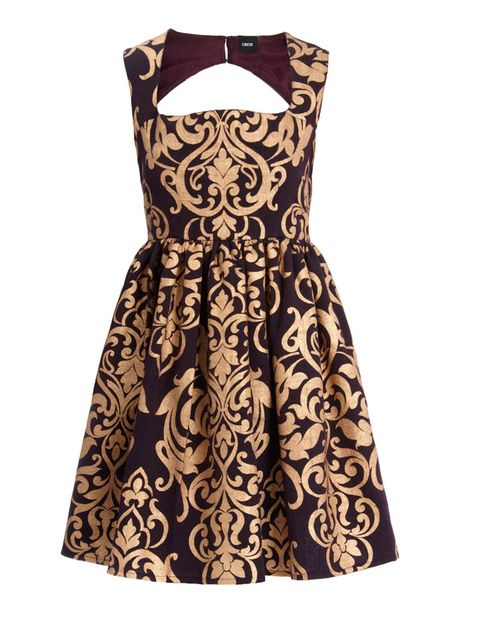 Brown, Dress, Sleeve, Textile, One-piece garment, Pattern, Collar, Formal wear, Style, Orange,