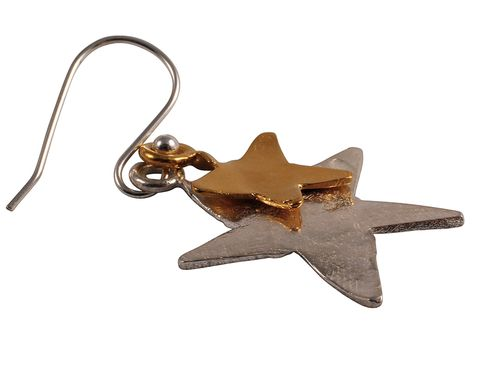 Brown, Product, Metal, Beige, Bronze, Star, Earrings, Fawn, Bronze, Astronomical object,