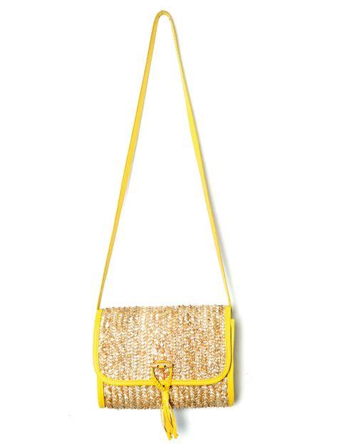 Yellow, Bag, Amber, Shoulder bag, Beige, Metal, Triangle, Brass, Bronze,