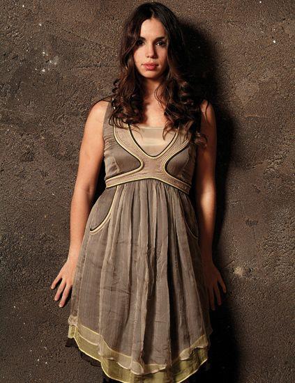 Brown, Dress, One-piece garment, Formal wear, Day dress, Fashion model, Waist, Fashion, Long hair, Model,
