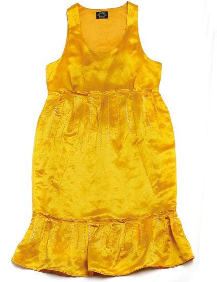 Product, Yellow, Brown, Dress, Sleeve, Orange, Textile, One-piece garment, Pattern, Amber,