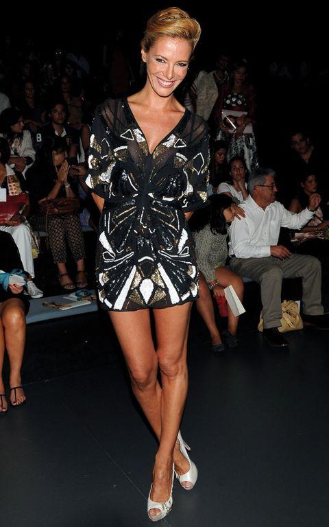 Clothing, Footwear, Leg, Shoulder, Human leg, Outerwear, Style, Fashion show, Thigh, Fashion model,
