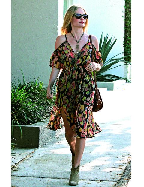 Clothing, Dress, Shoulder, Shoe, Sunglasses, Bag, Style, Street fashion, One-piece garment, Fashion accessory,