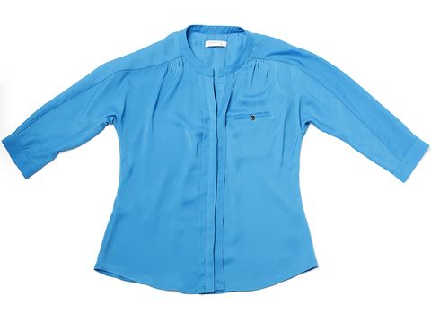 Blue, Product, Sleeve, Collar, Textile, White, Aqua, Electric blue, Turquoise, Teal,