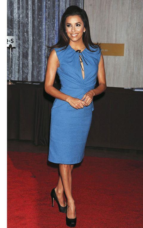 Blue, Dress, Shoulder, Shoe, Joint, Human leg, Flooring, Jewellery, High heels, Formal wear,