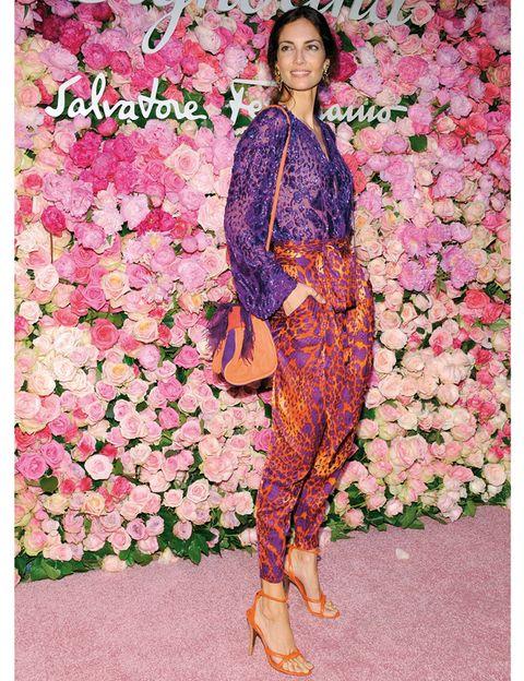Petal, Textile, Pink, Magenta, Foot, Peach, High heels, Sandal, Creative arts, Floral design,