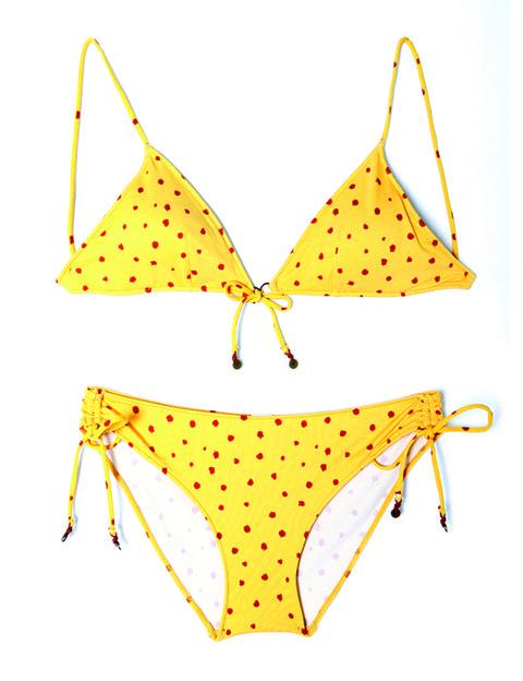 Product, Yellow, Brassiere, Bikini, Swimsuit top, Undergarment, Line, Lingerie, Amber, Swimwear,