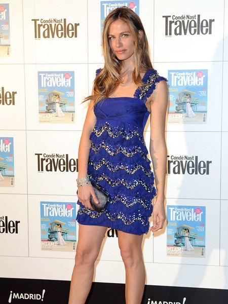 Dress, Shoulder, Joint, One-piece garment, Style, Cocktail dress, Electric blue, Day dress, Waist, Logo,