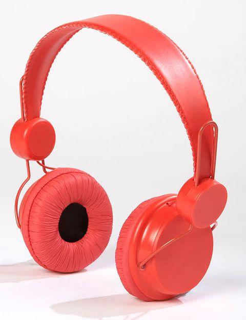 Red, Audio equipment, Orange, Carmine, Audio accessory, Circle, Coquelicot, Plastic, Still life photography, Gadget,