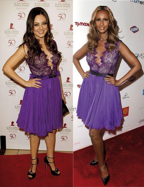 Shoulder, Dress, Joint, Waist, Style, Fashion accessory, Purple, One-piece garment, Electric blue, Cocktail dress,