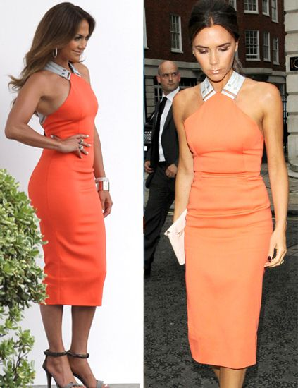 Clothing, Hairstyle, Dress, Shoulder, Orange, Red, Joint, Standing, Formal wear, One-piece garment,