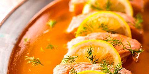 Food, Soup, Ingredient, Orange, Produce, Citrus, Dish, Seafood, Garnish, Recipe,