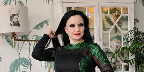 Green, Sleeve, Dress, Formal wear, Waist, Day dress, One-piece garment, Eyelash, Cocktail dress, Makeover,