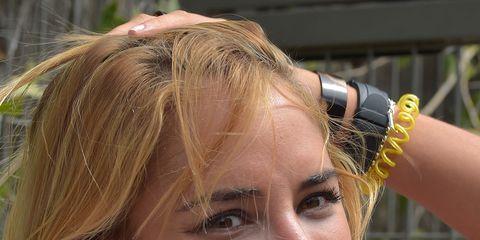 Hair, Face, Hairstyle, Blond, Eyebrow, Chin, Lip, Beauty, Forehead, Feathered hair,