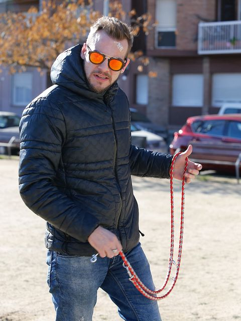 Trousers, Denim, Jeans, Textile, Outerwear, Jacket, Goggles, Sunglasses, Winter, Street fashion,