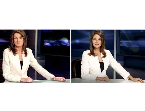 Television presenter, Newscaster, Display device, Blazer, Television program, White-collar worker, Employment, Television set, Collaboration, Newsreader,