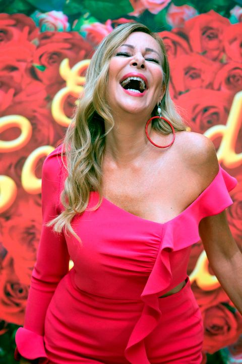Pink, Red, Blond, Beauty, Magenta, Smile, Lip, Photo shoot, Mouth, Happy,