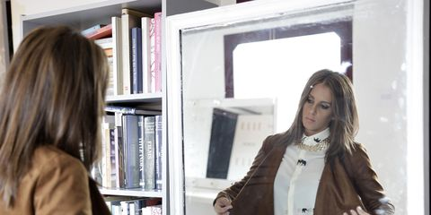 Sleeve, Shelf, Outerwear, Coat, Bookcase, Denim, Shelving, Blazer, Beauty, Fashion,