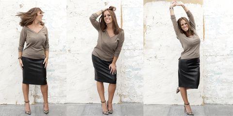 Clothing, Footwear, Leg, Brown, Sleeve, Human body, Human leg, Shoulder, Textile, Standing,
