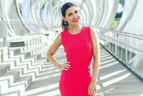 Clothing, Pink, Dress, Shoulder, Red, Neck, Beauty, Fashion, Waist, Cocktail dress,