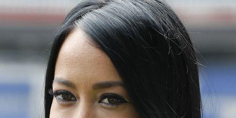 Nose, Lip, Hairstyle, Eye, Forehead, Eyebrow, Happy, Facial expression, Eyelash, Black hair,