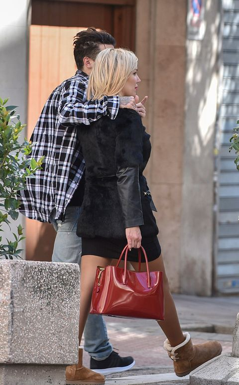 Clothing, Footwear, Brown, Shoe, Outerwear, Bag, Style, Street fashion, Interaction, Fashion accessory,