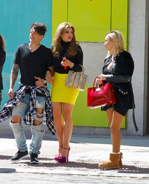 Clothing, Hair, Footwear, Leg, Trousers, Bag, Outerwear, Fashion accessory, Style, Street fashion,