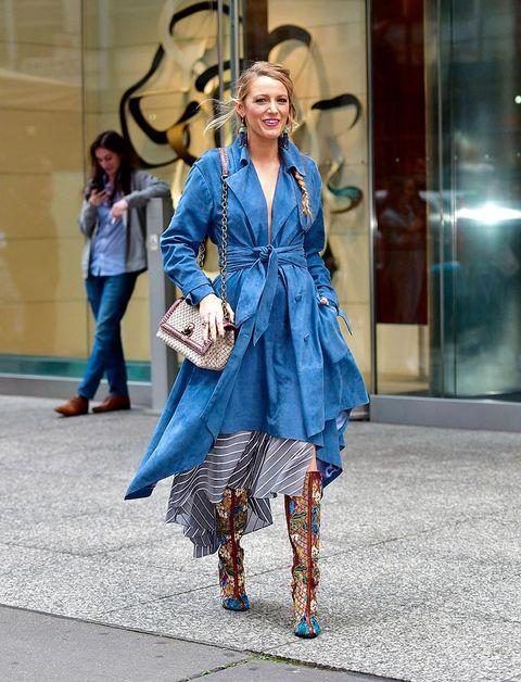 Blue, Street fashion, Fashion, Clothing, Fashion model, Cobalt blue, Electric blue, Fashion design, Snapshot, Footwear,