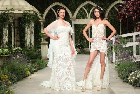 Clothing, Plant, Shoulder, Dome, Textile, Dress, Formal wear, Waist, Bridal clothing, Wedding dress,